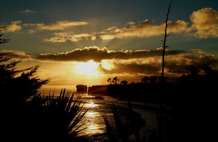 Early Morning Sun Rays Over Cape Foulwind, Westport, NZ 2012 7896WPL.jpg
