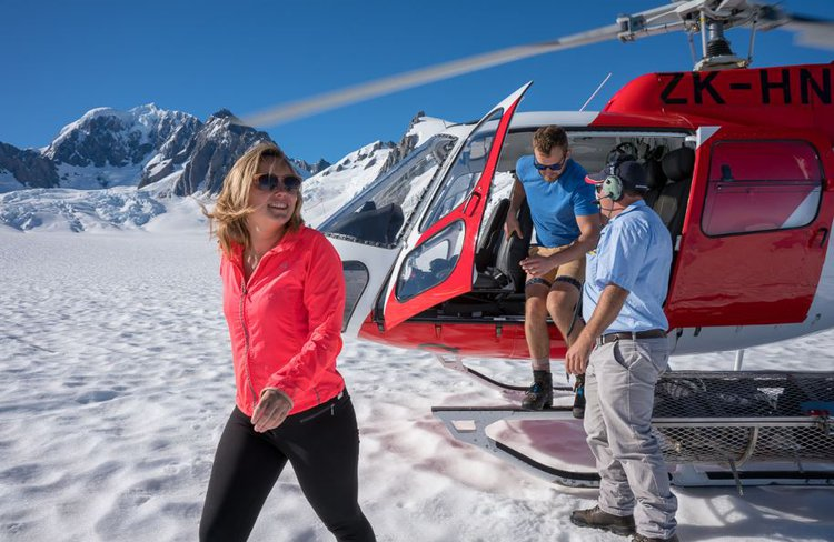 Helicopter landing on Fox Glacier - 1734