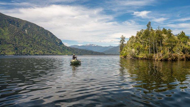 Fishing on Lake Brunner