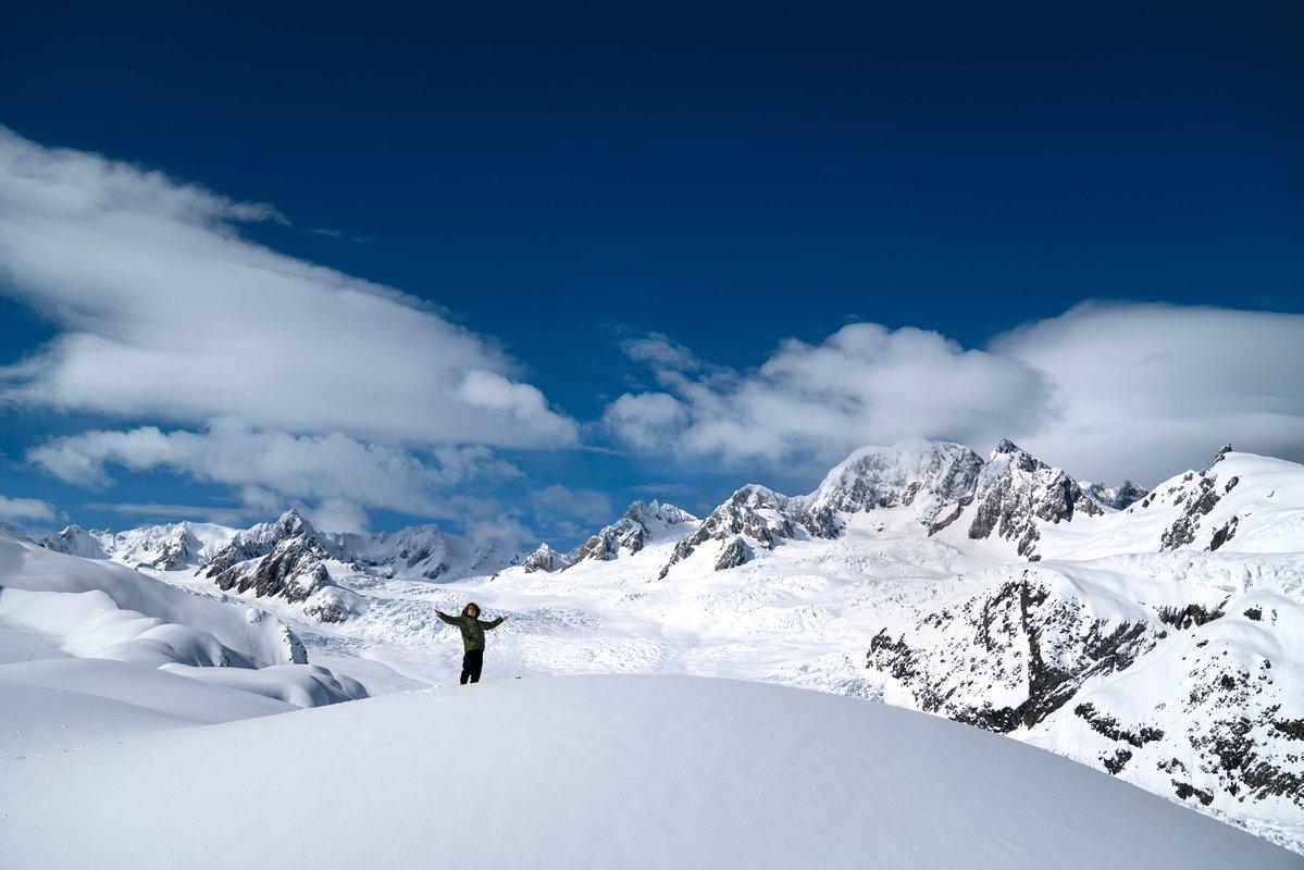 Wide shot of Te Radar above Fox Glacier
