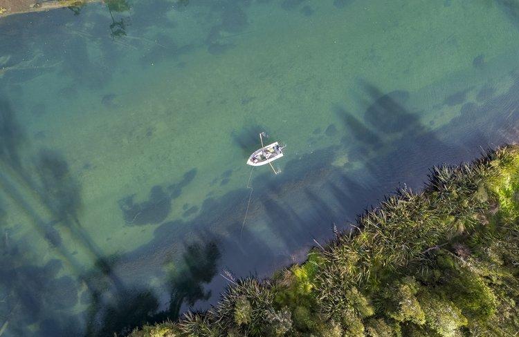 Aerial view of fishing on Lake Brunner - 0006
