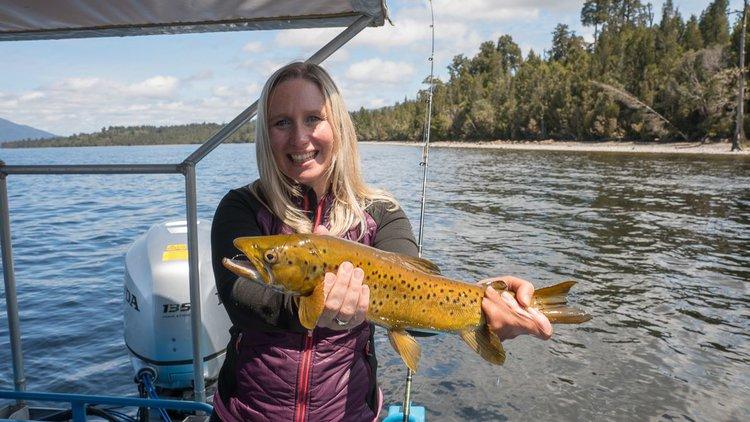 Trout fishing on Lake Brunner