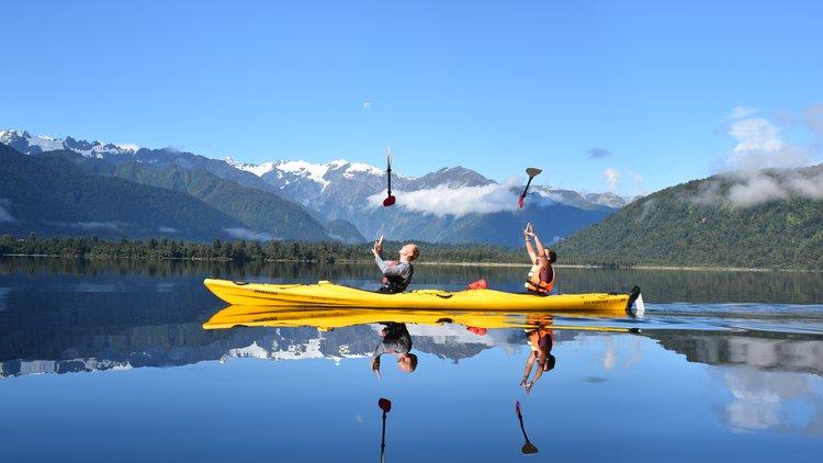 Mirror lake magic.  Kayak Tours and Rentals on Lake Mapourika - free photos with all tours.