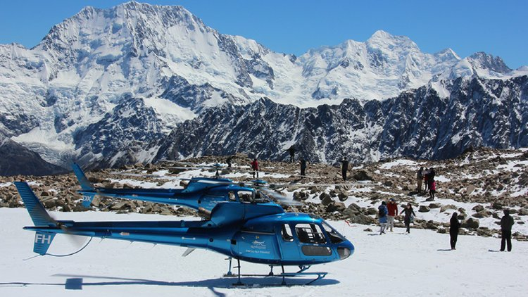 Landed at the Liebig Dome with Mount Cook in the background