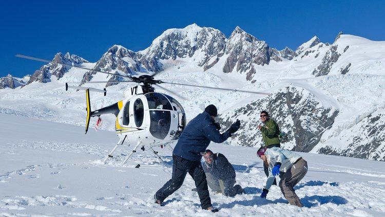 Snow landing above the famous Fox Glacier