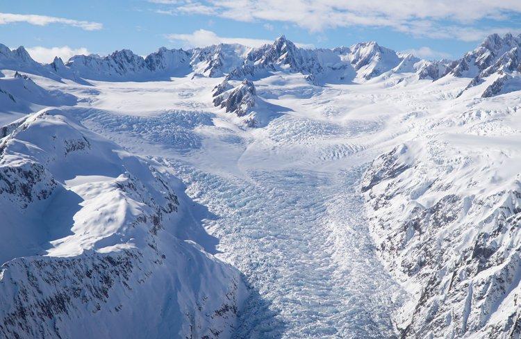 Head of the Fox Glacier with Mount Tasman