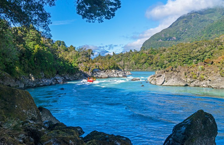 Eco river tour through the Southern Alps of New Zealand.