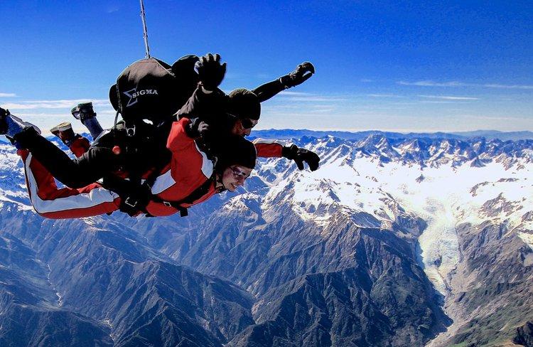 Skydive over Franz Josef Glacier, New Zealand