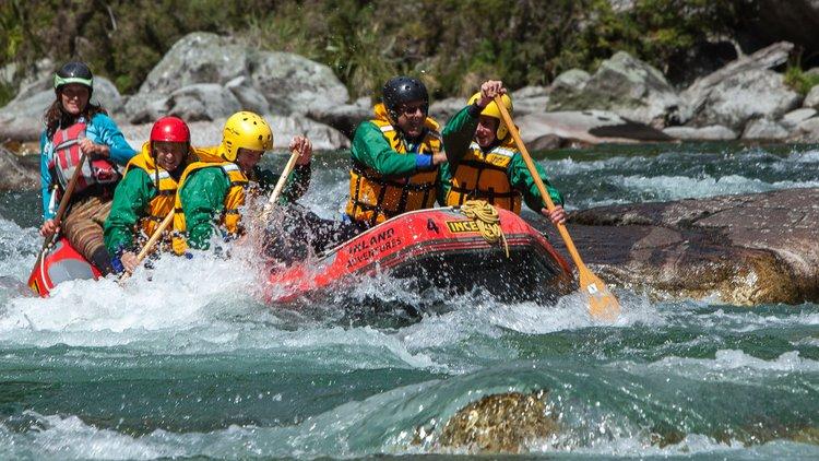 Rafting the Grey River/Māwheranui near Reefton.