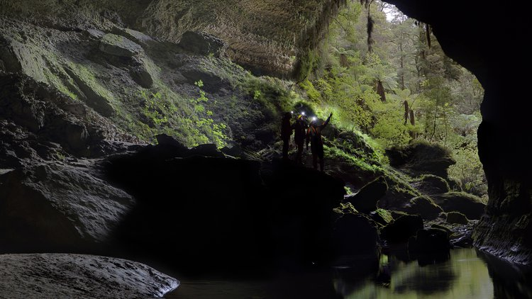 Admiring a very special place in the back section of the Metro Cave near Charleston on the West Coast
