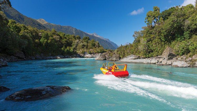 The Waiatoto River Safari in Haast, West Coast, New Zealand.