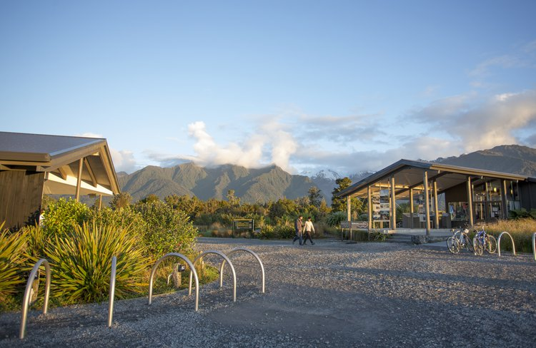 Our gift store and gallery is next to Matheson Café at the entrance to the Lake Matheson Walkway.