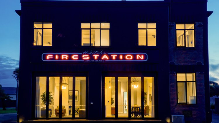 Our Hokitika Fire Station Boutique Accomodation Apartments at night