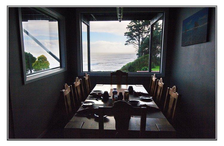 Breakfast room with views to Tasman Sea