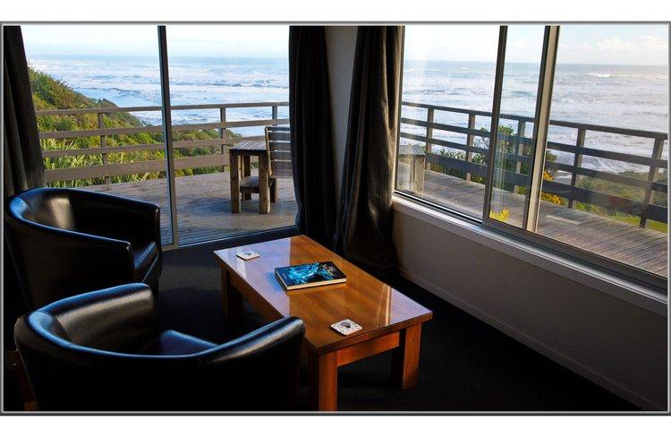 Breakwater suite room with views to Tasman Sea